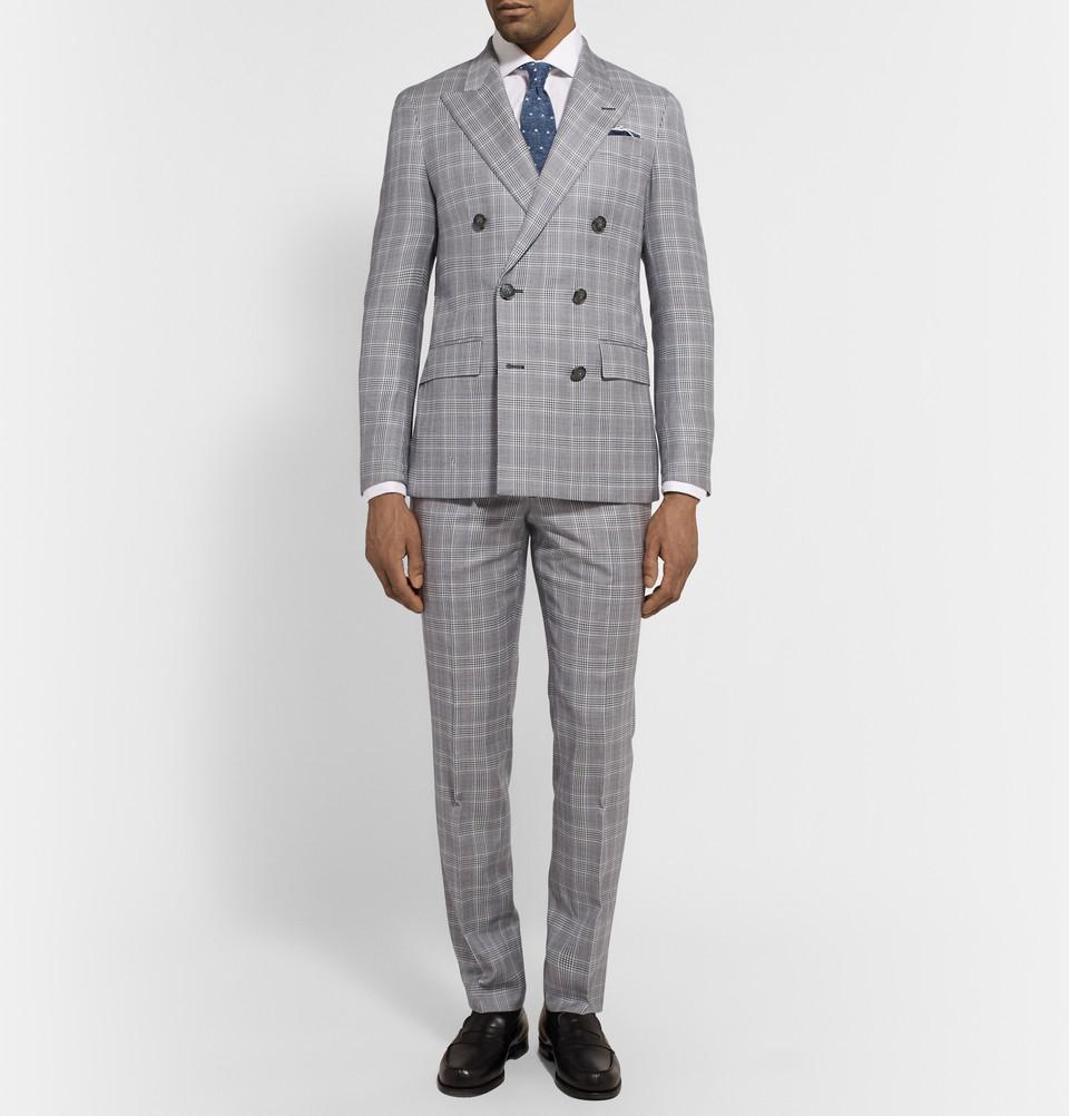 Hackett Grey Double-Breasted Prince Of Wales Checked Wool Suit in ...
