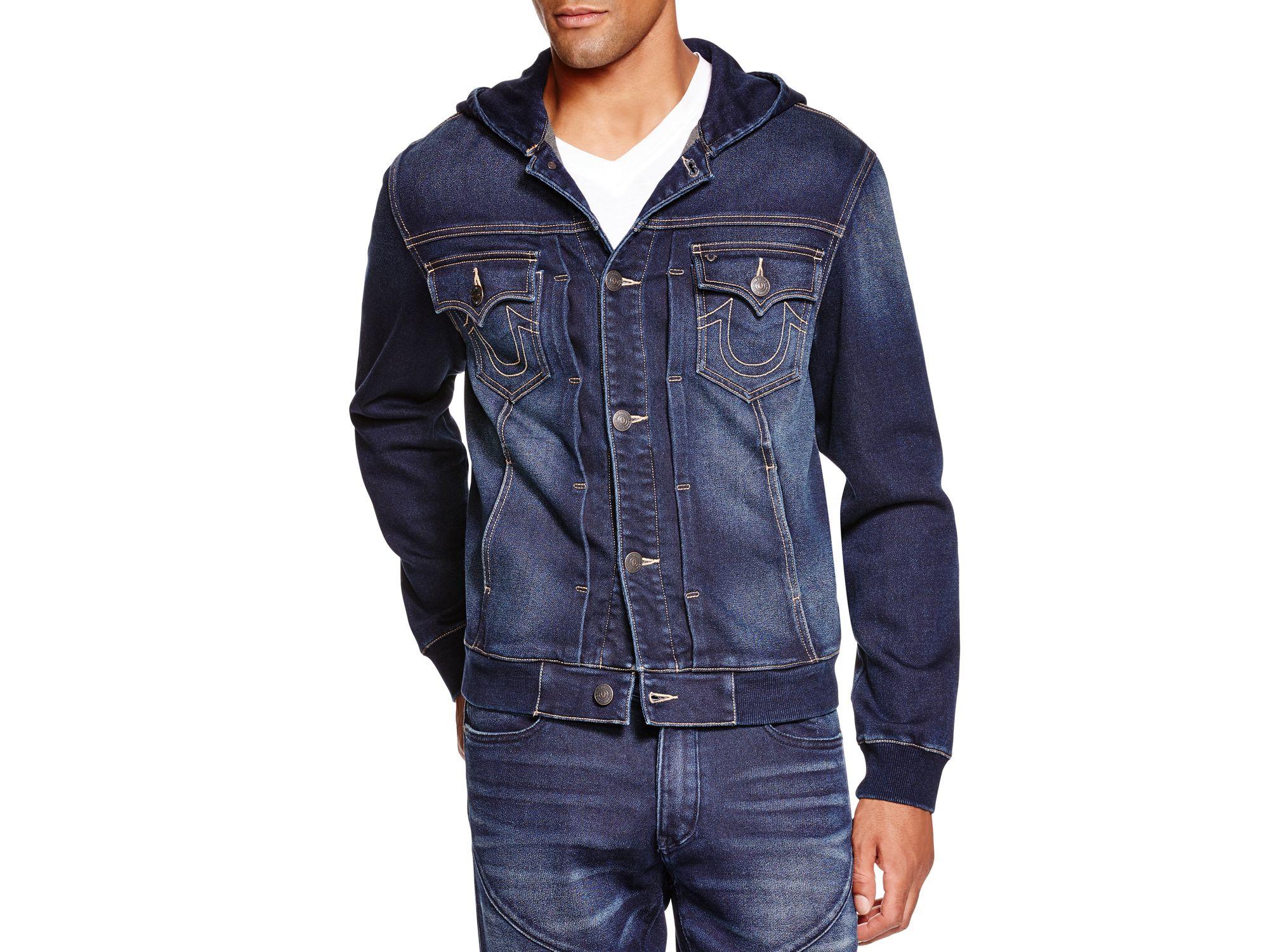 true religion dylan hooded denim jacket in blue for men lyst. Black Bedroom Furniture Sets. Home Design Ideas