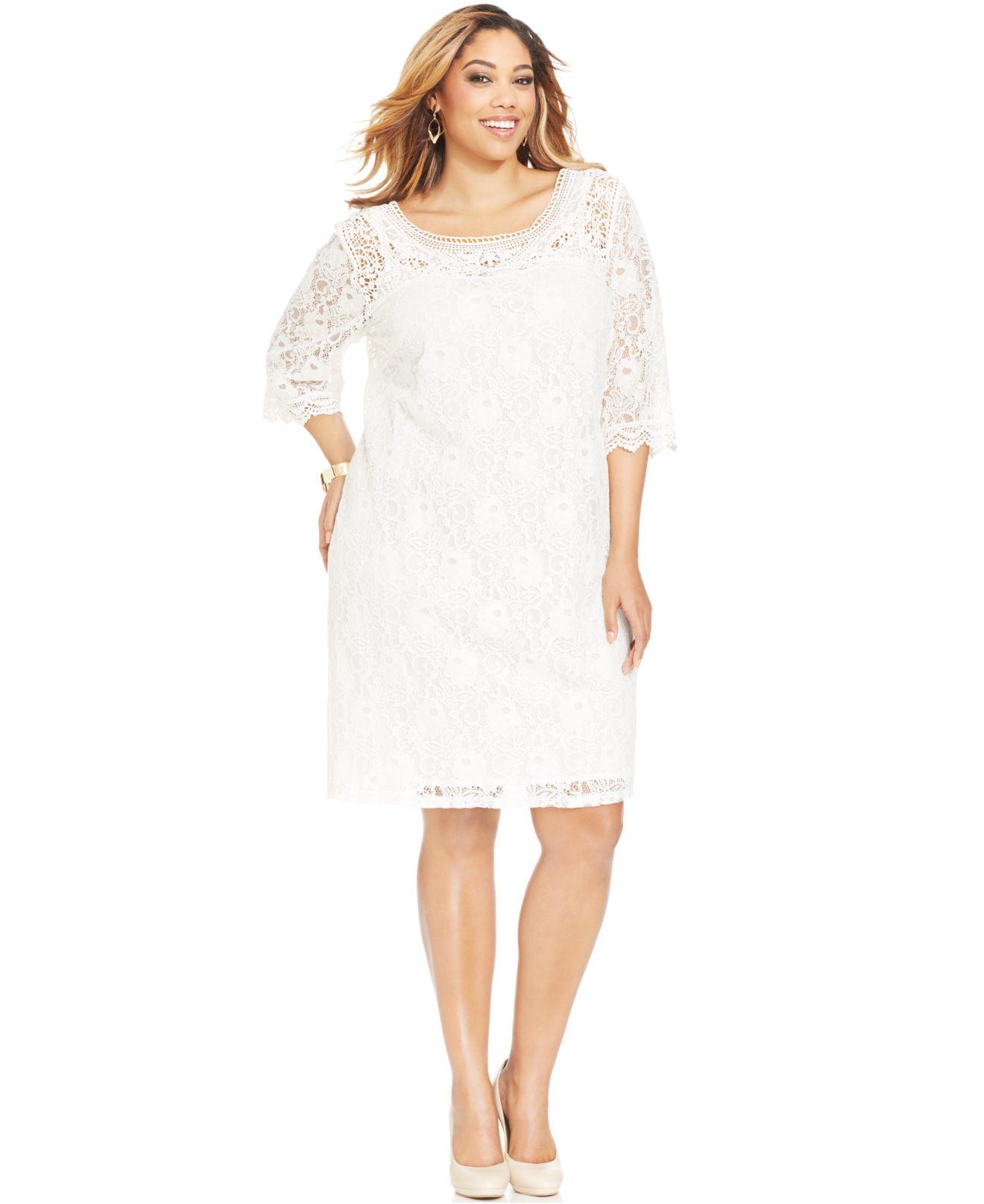 Spense White Plus Size Three-Quarter-Sleeve Lace Dress