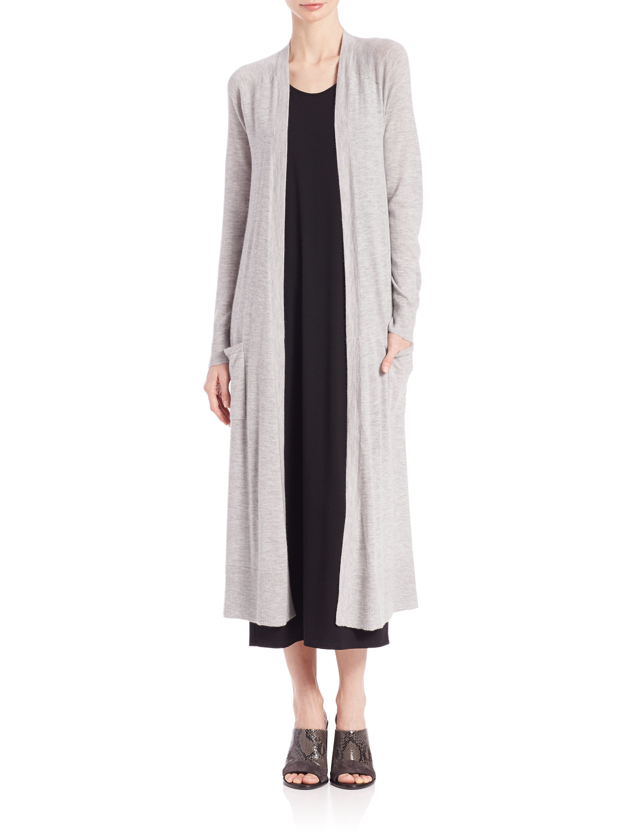 Eileen fisher Cashmere Long Cardigan in White | Lyst