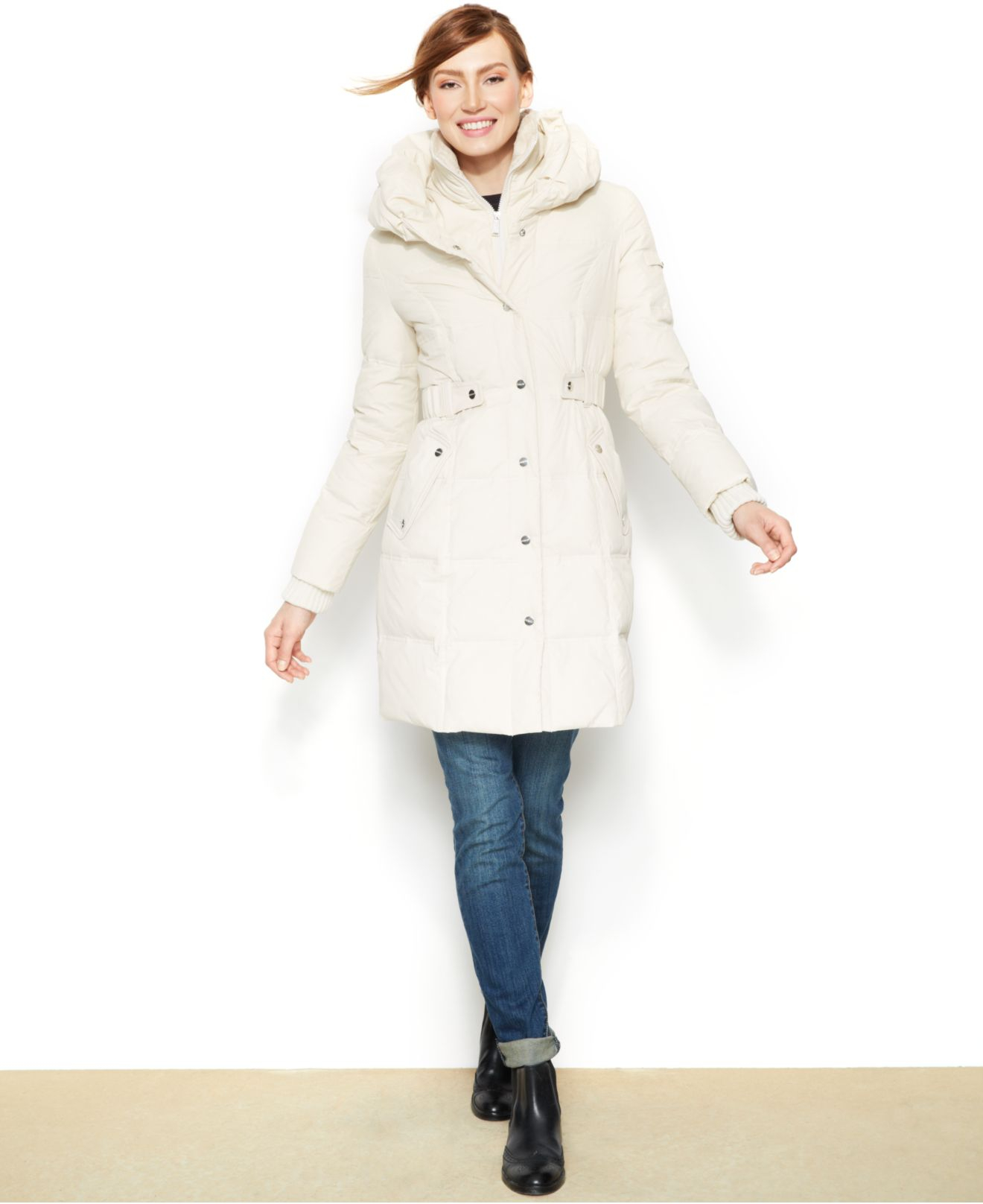 Dkny Belted Quilted Long Length Down Puffer Coat In Ivory