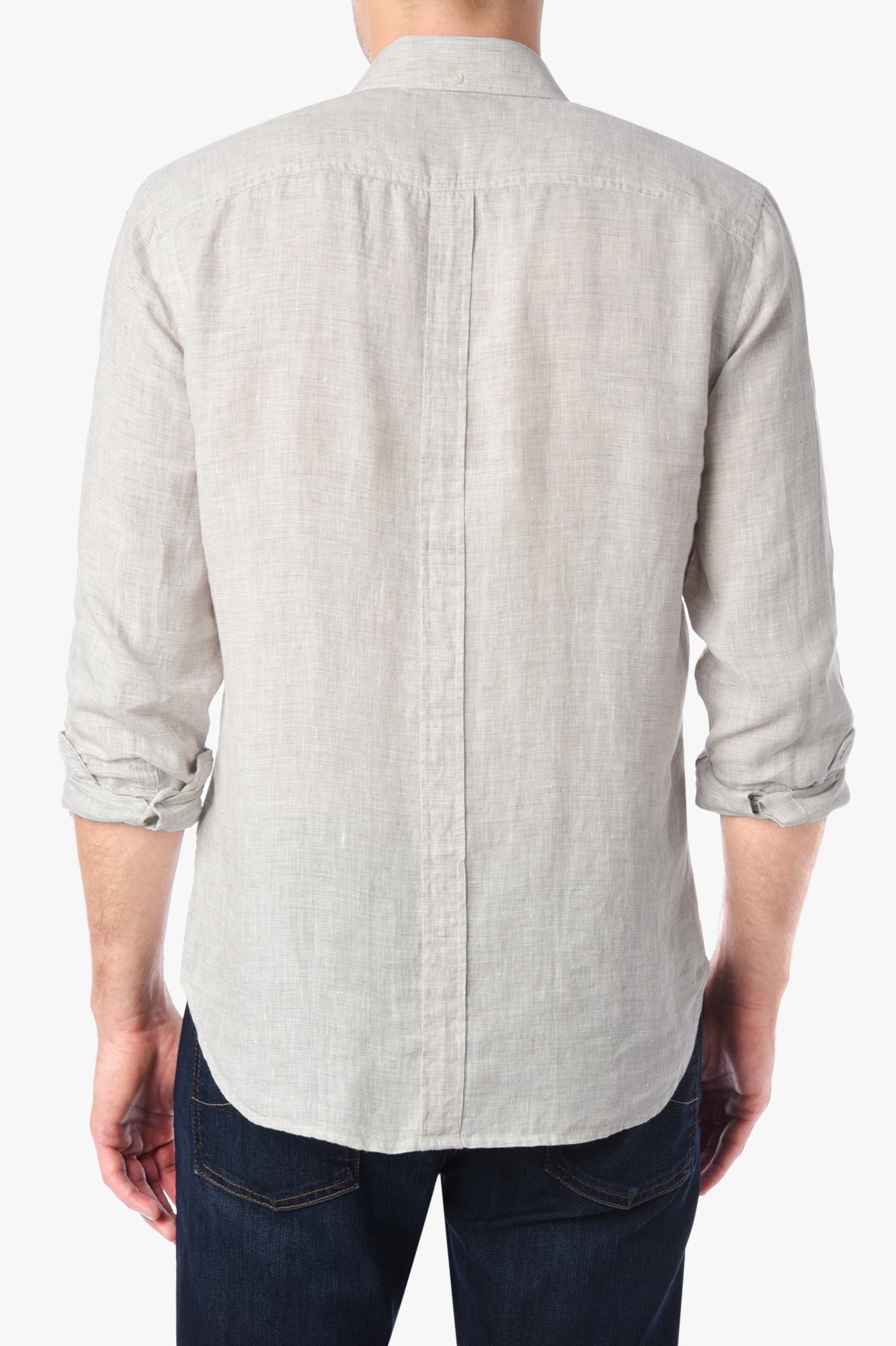 7 For All Mankind Long Sleeve Lightweight Oxford Shirt In