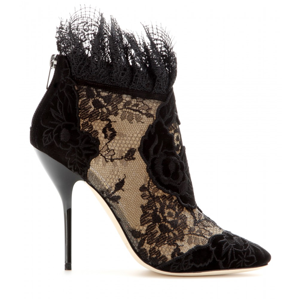 fbdf4484c9cf Lyst - Jimmy Choo Kamaris Suede And Lace Ankle Boots in Black