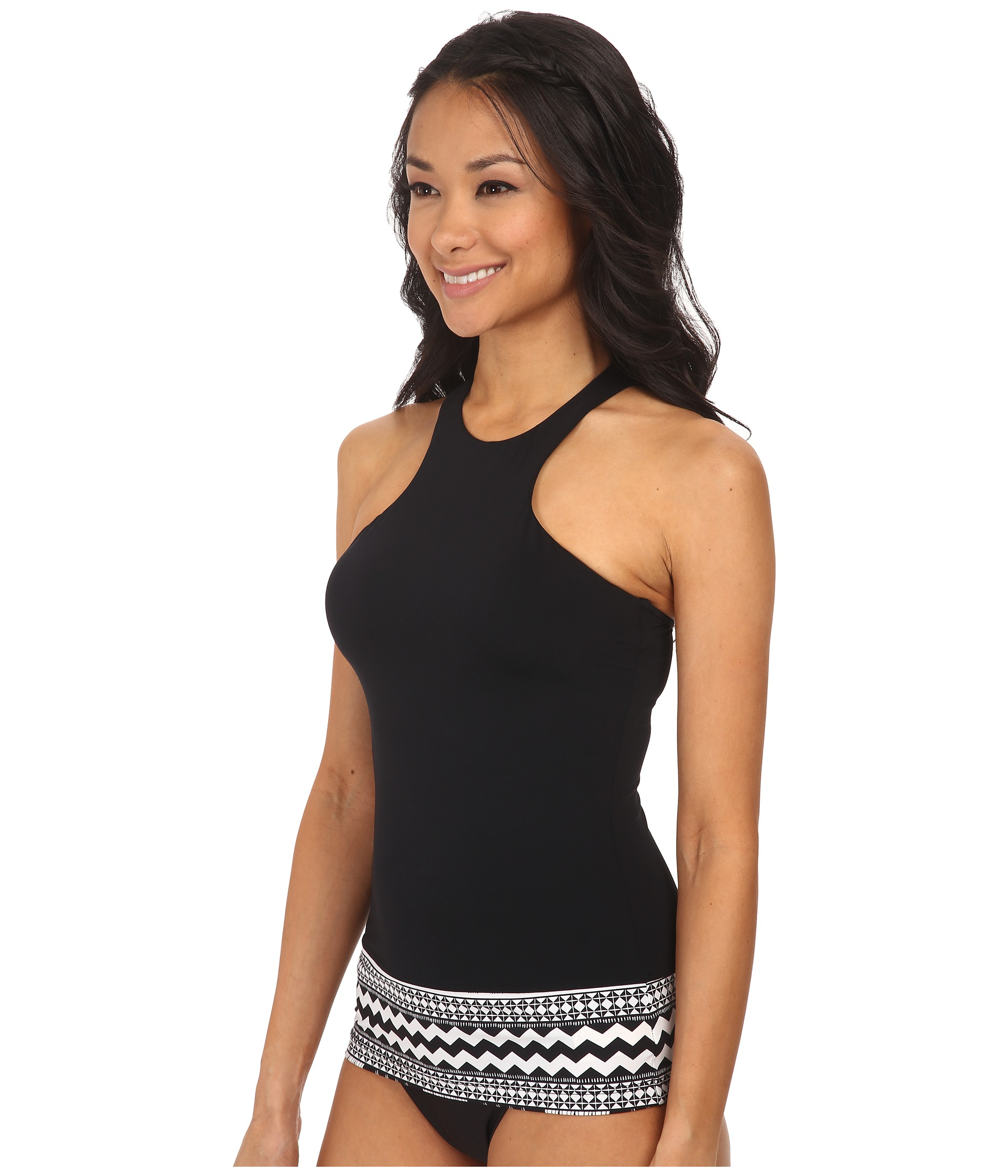 65f7bb7d4d8695 Lyst - Seafolly Future Tribe High Neck Singlet in Black