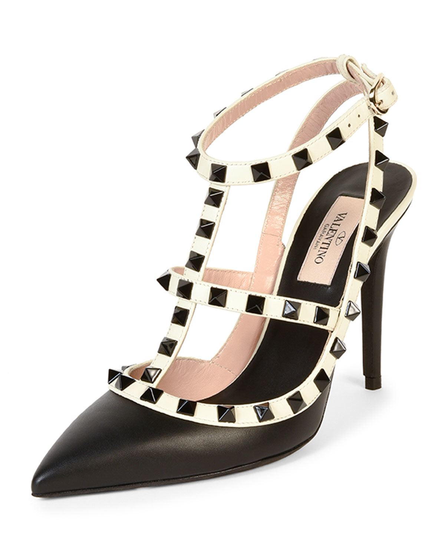 Lyst - Valentino Rockstud Colorblock Leather Sandal In Black-9975