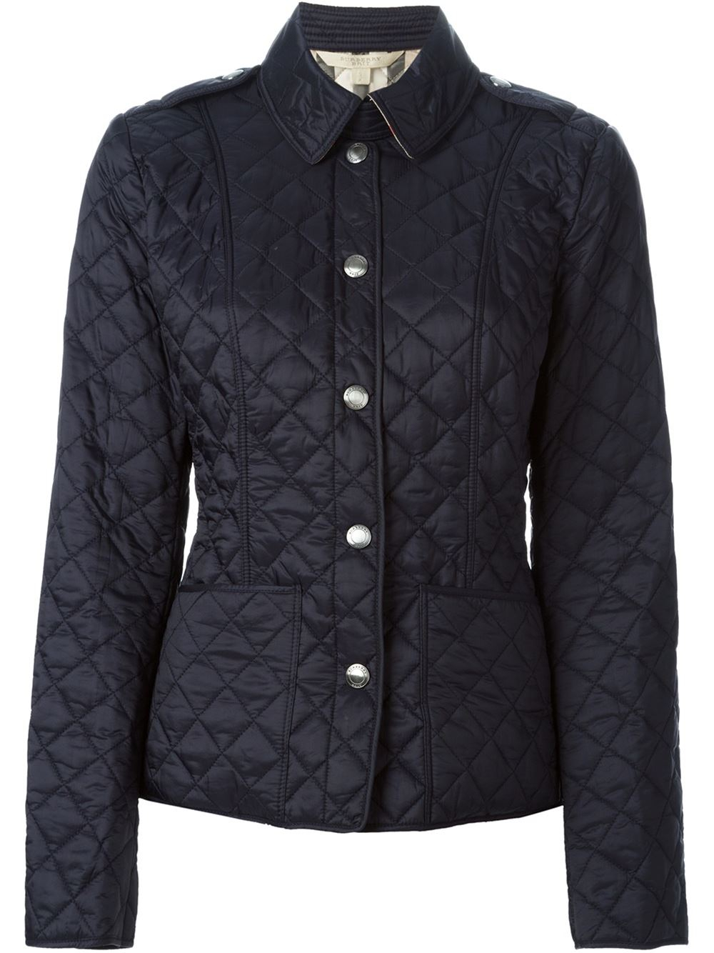 burberry brit quilted jacket in blue lyst. Black Bedroom Furniture Sets. Home Design Ideas