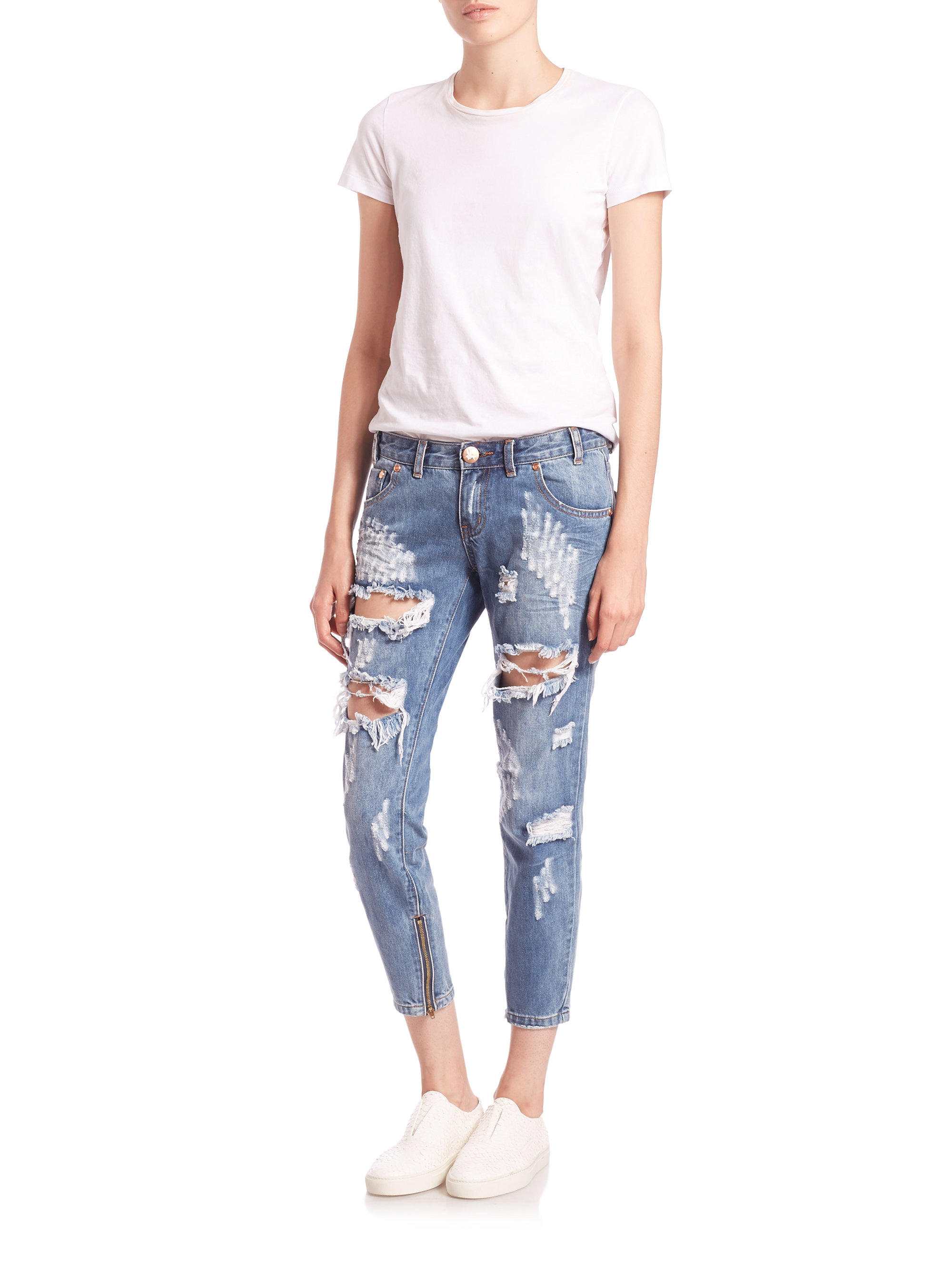 one teaspoon freebirds low rise distressed skinny ankle jeans in blue lyst. Black Bedroom Furniture Sets. Home Design Ideas