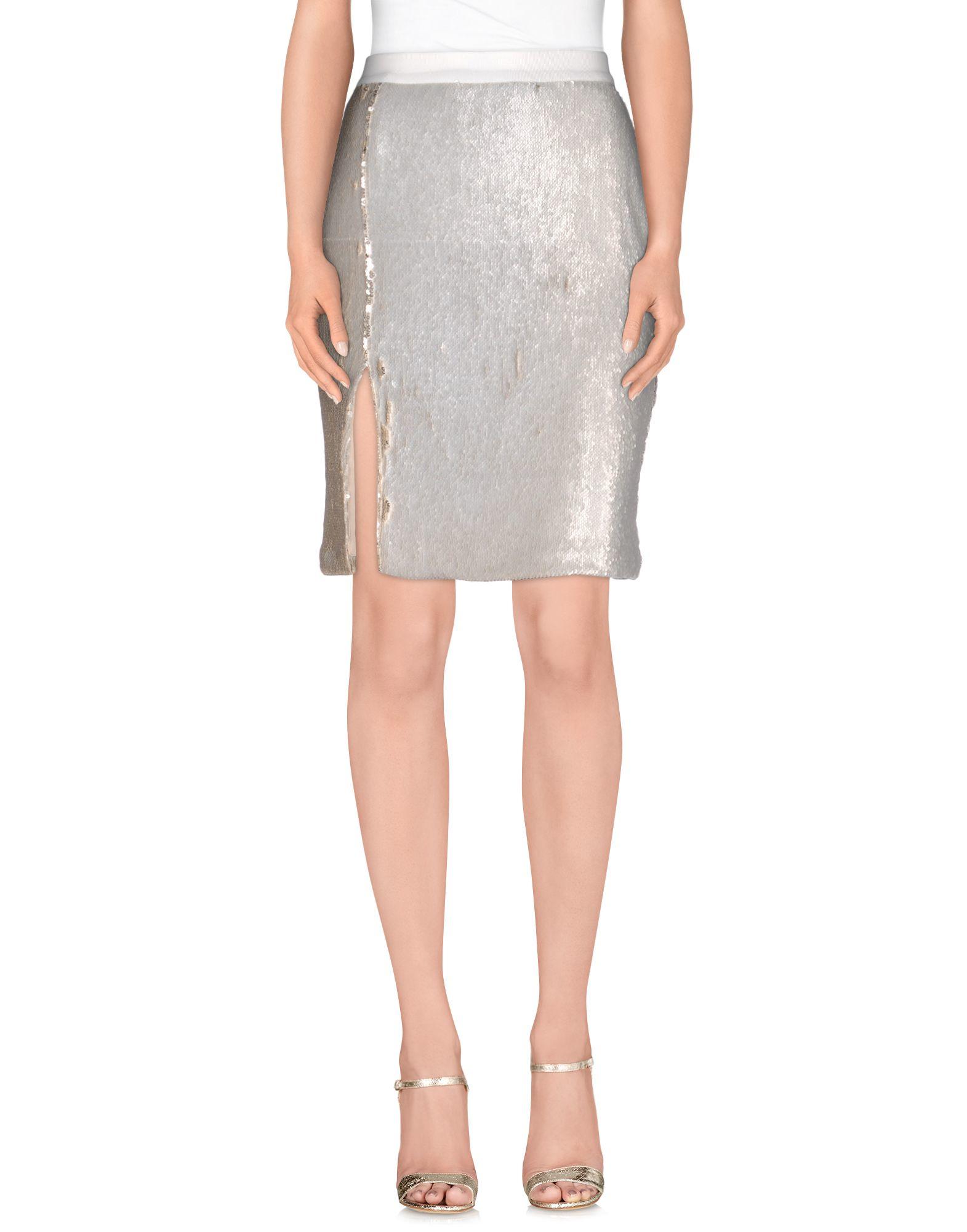 aviu knee length skirt in gray light grey save 55 lyst