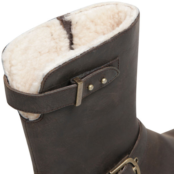 d3bc640143c UGG Australia Womens Grandle Leather Buckle Boots in Brown - Lyst