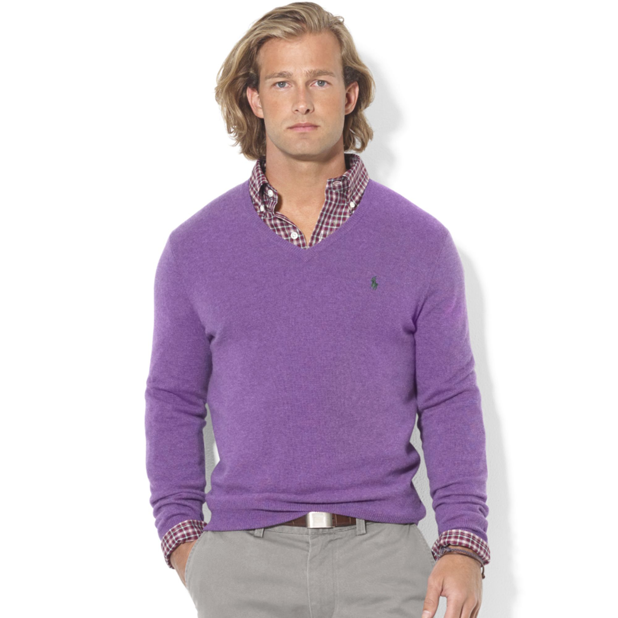 6bbc7da5a Ralph Lauren Vneck Merino Wool Sweater in Purple for Men - Lyst