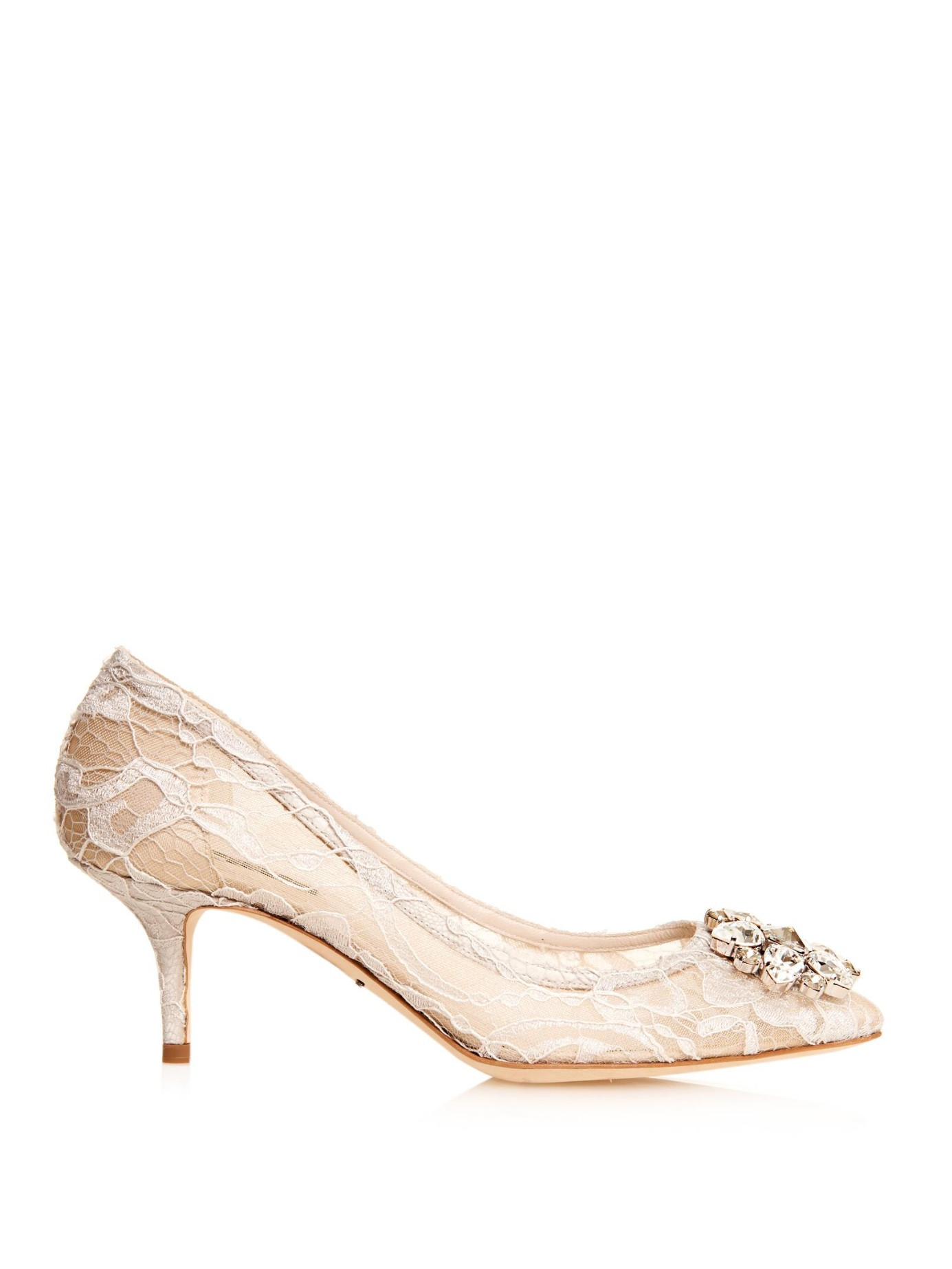 dd44965ac84 Lyst - Dolce   Gabbana Embellished Lace Pumps in Natural