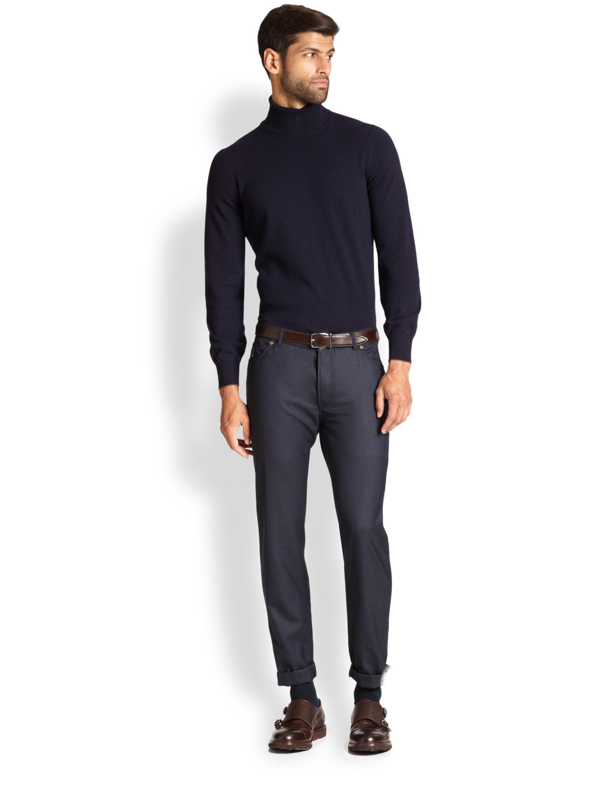 brunello cucinelli cashmere turtleneck sweater in blue for