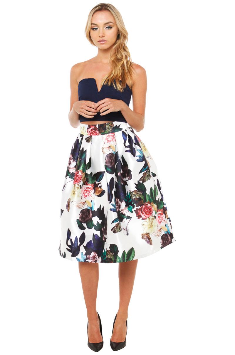 Akira black label Blossom Midi Skirt - White Floral in White | Lyst