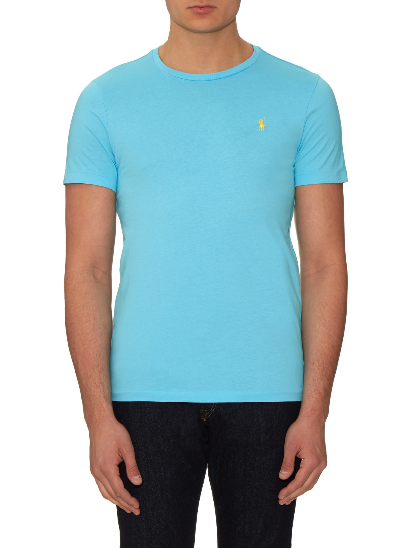 c4f9586d5 Polo Ralph Lauren Logo-embroidered Cotton T-shirt in Blue for Men - Lyst