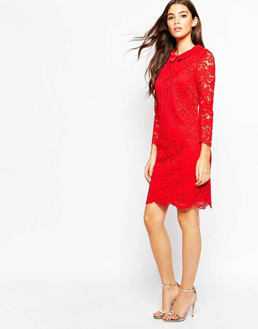 213eee6414 Ted Baker Red Ameera Scallop Hem Lace Dress