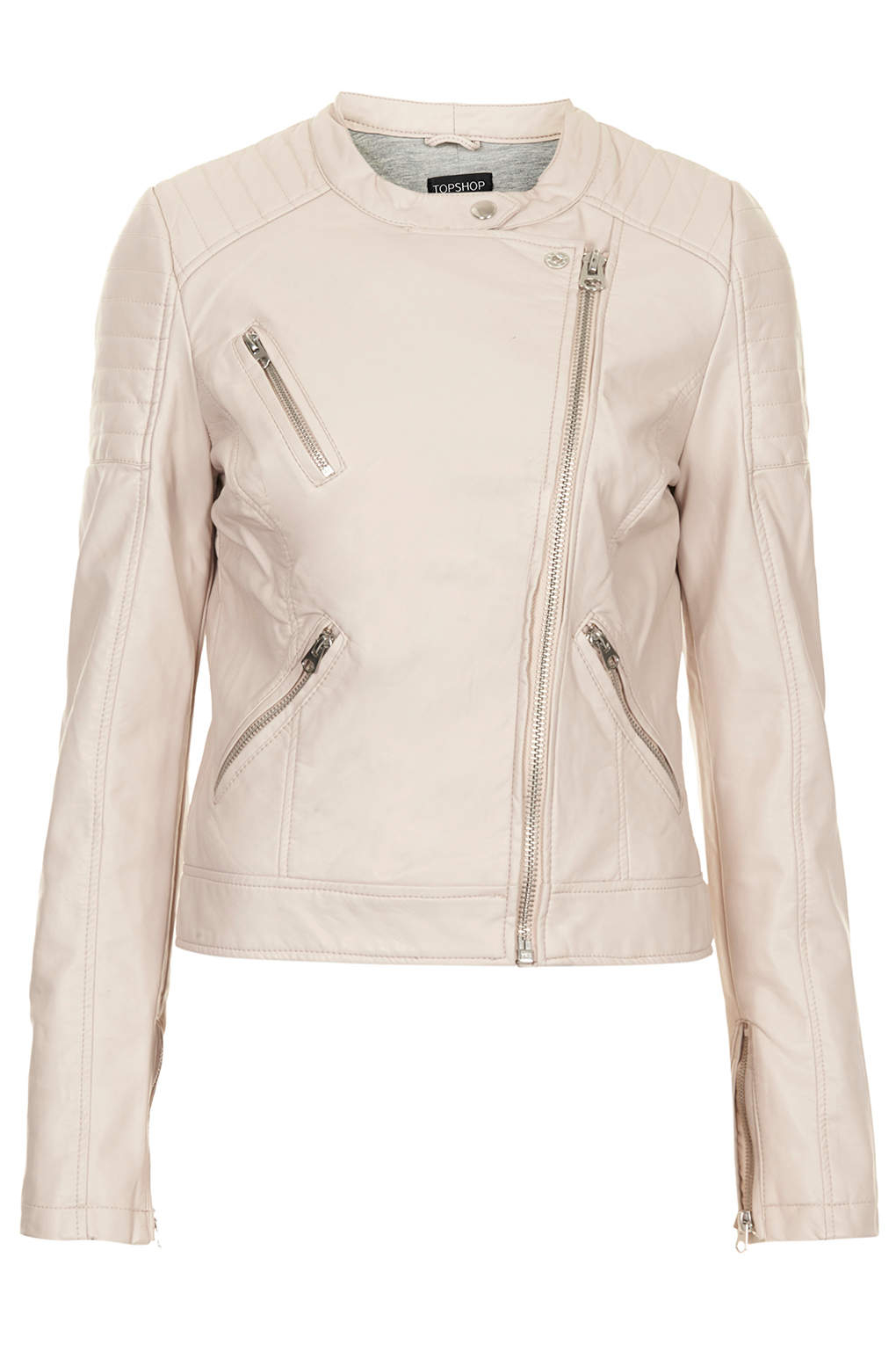 cheap sale the latest newest collection TOPSHOP Collarless Faux Leather Biker Jacket in Pale Pink ...
