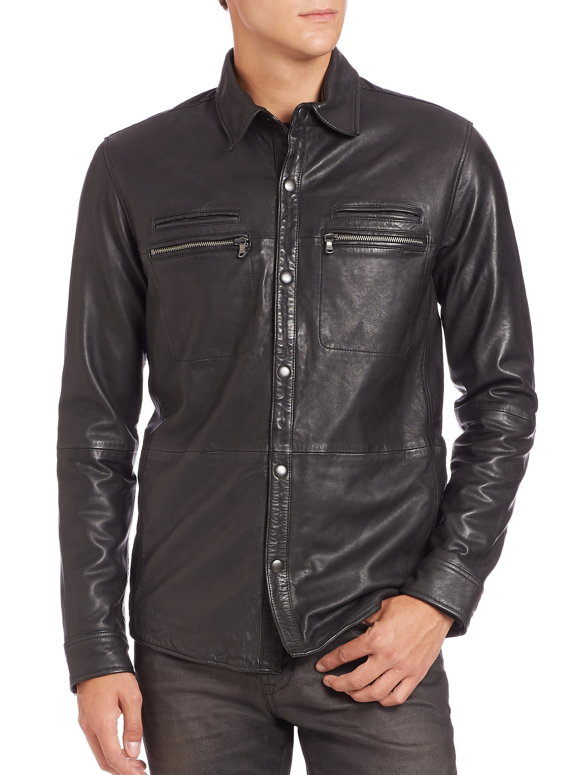 John varvatos leather shirt jacket in black for men lyst for Leather jacket and shirt