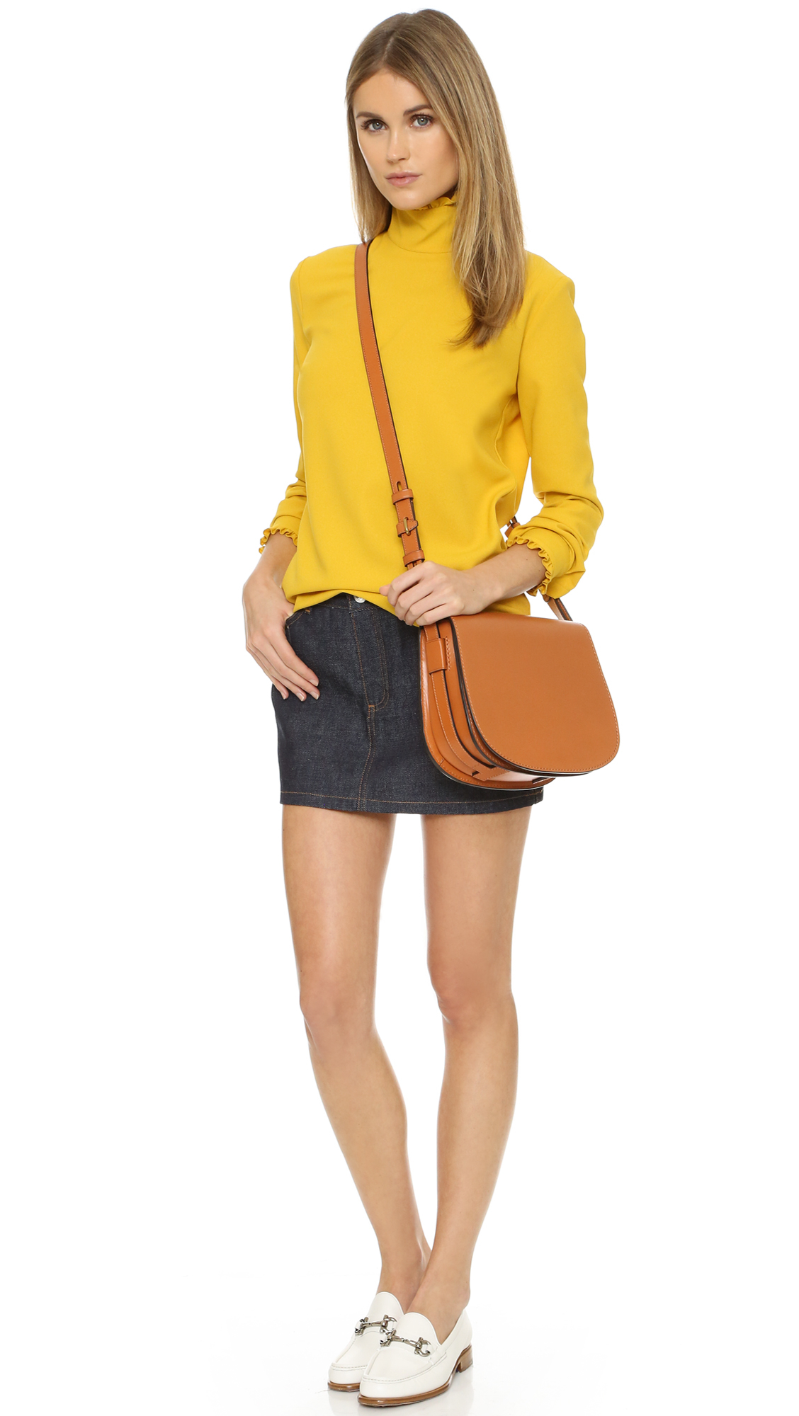 Lyst Tory Burch Leather Saddle Bag In Brown