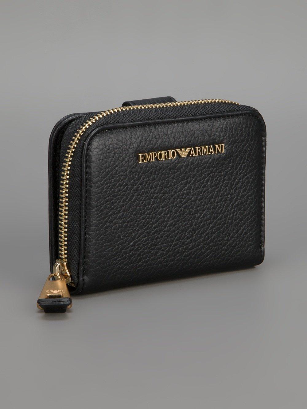 Logo Embossed Leather Zip Coin Purse - Gold Emporio Armani NRyM4ILwOr
