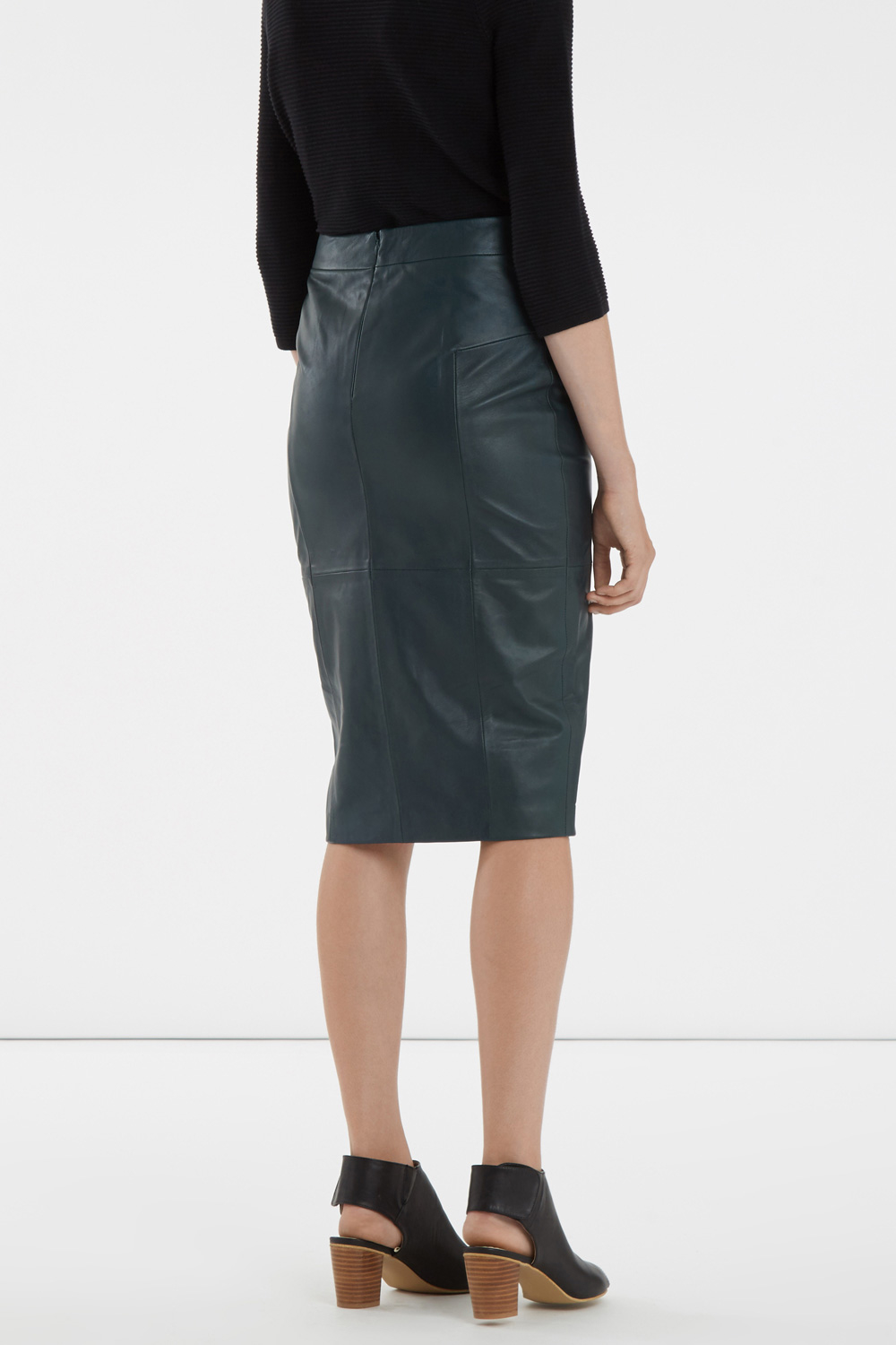 f612c2d67 Oasis Madison Leather Pencil Skirt in Green - Lyst