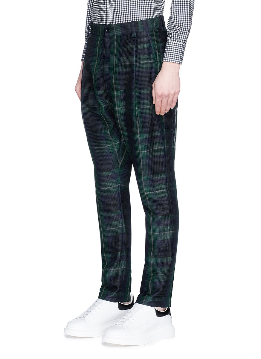 Sacai Tartan Plaid Pleated Pants In Green For Men Lyst
