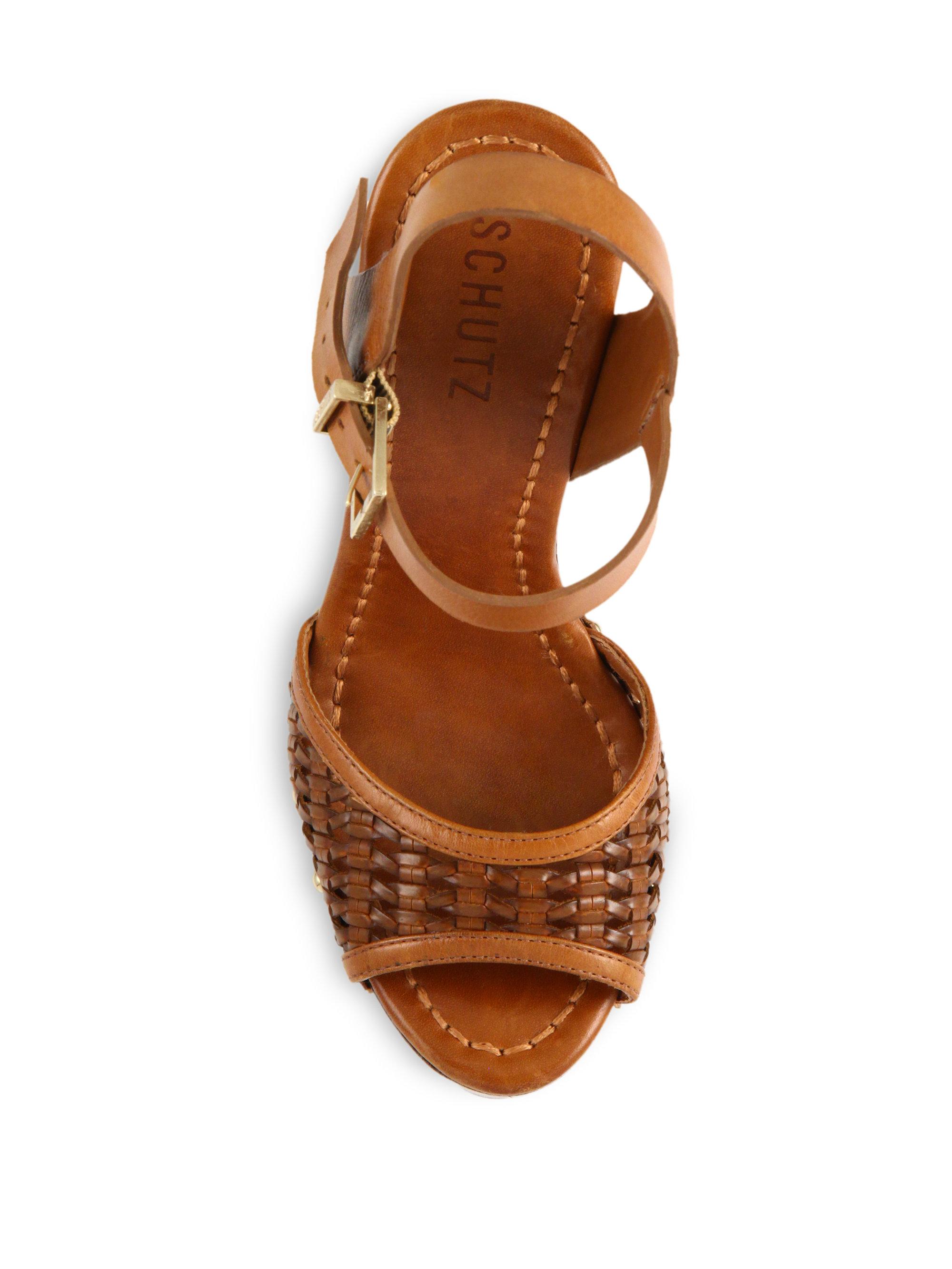Schutz Janice Woven Leather Platform Sandals In Brown Lyst