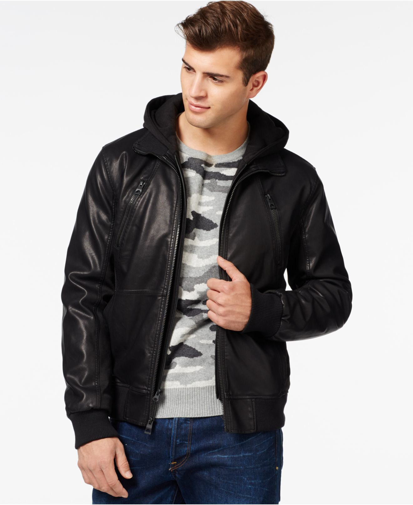 Guess Faux Leather Mixed Media Bomber In Black For Men Lyst