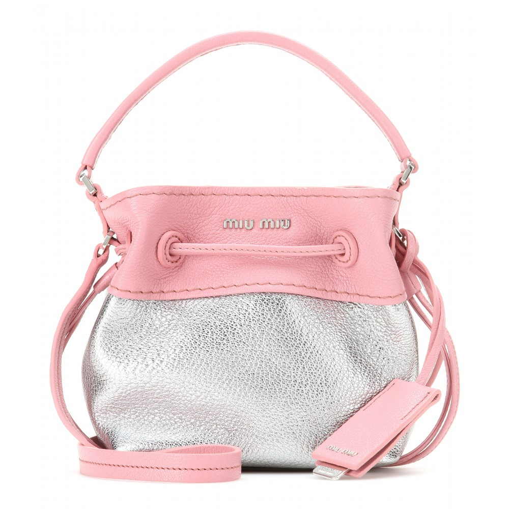 Lyst Miu Miu Mini Leather Bucket Bag In Pink