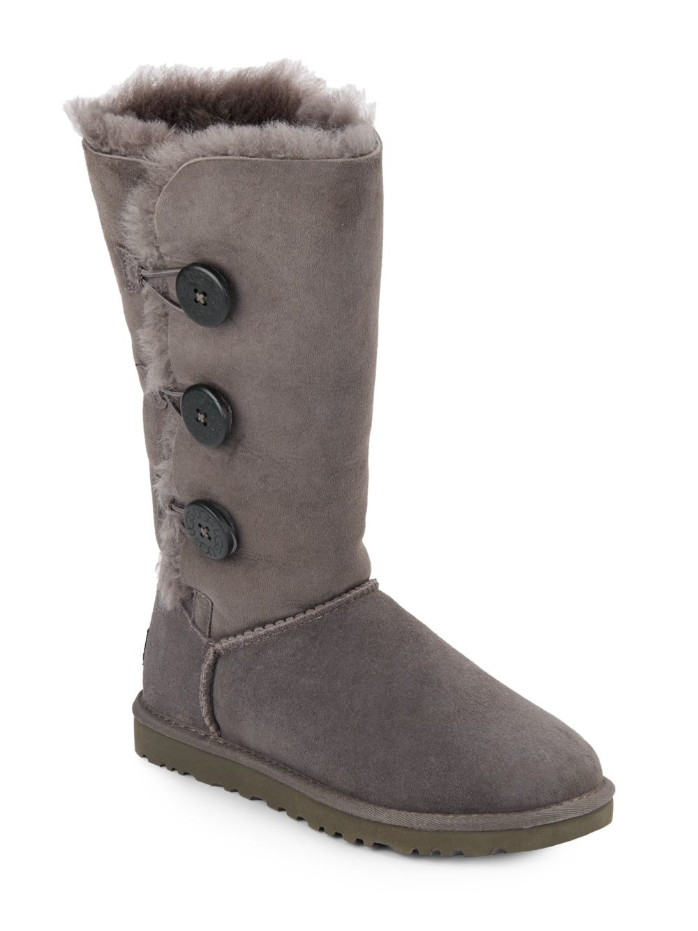 gray uggs buttons