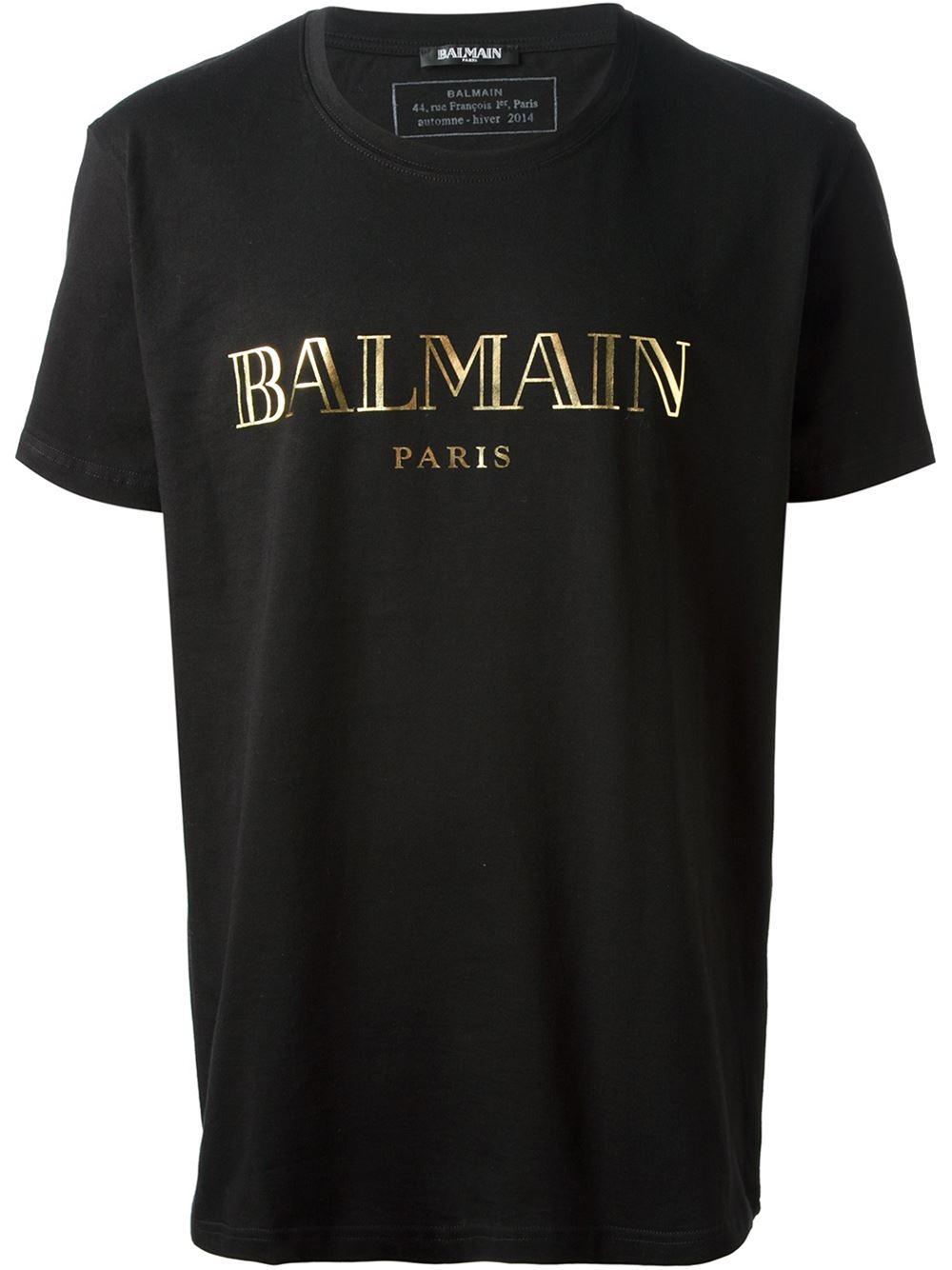 Balmain logo print tshirt in black for men lyst for Single print t shirt