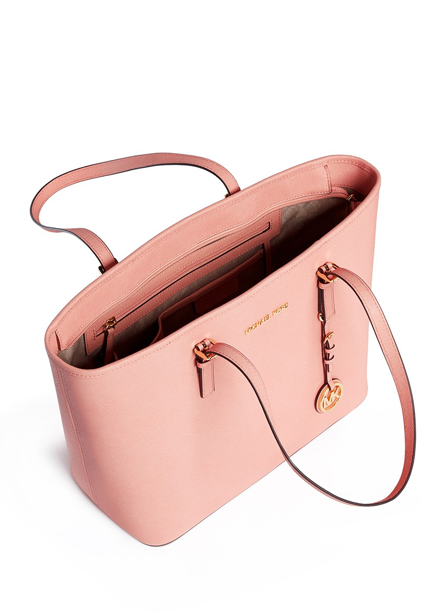 4f3ae795535e Michael Kors 'jet Set Travel' Saffiano Leather Top Zip Tote in Pink ...