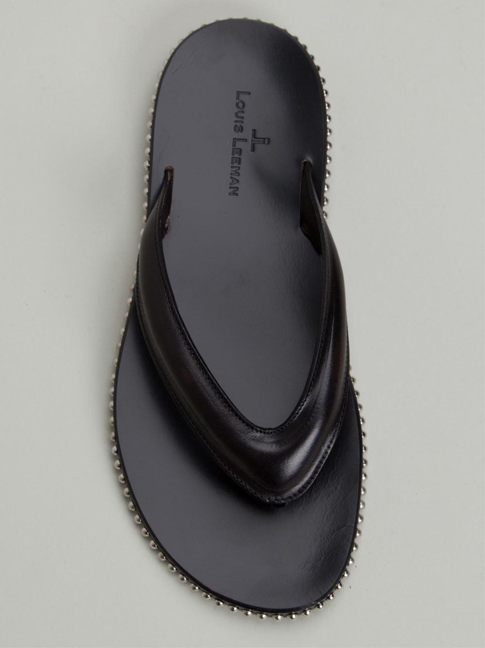 Louis Leeman Studded Flip Flops In Black For Men  Lyst-5109