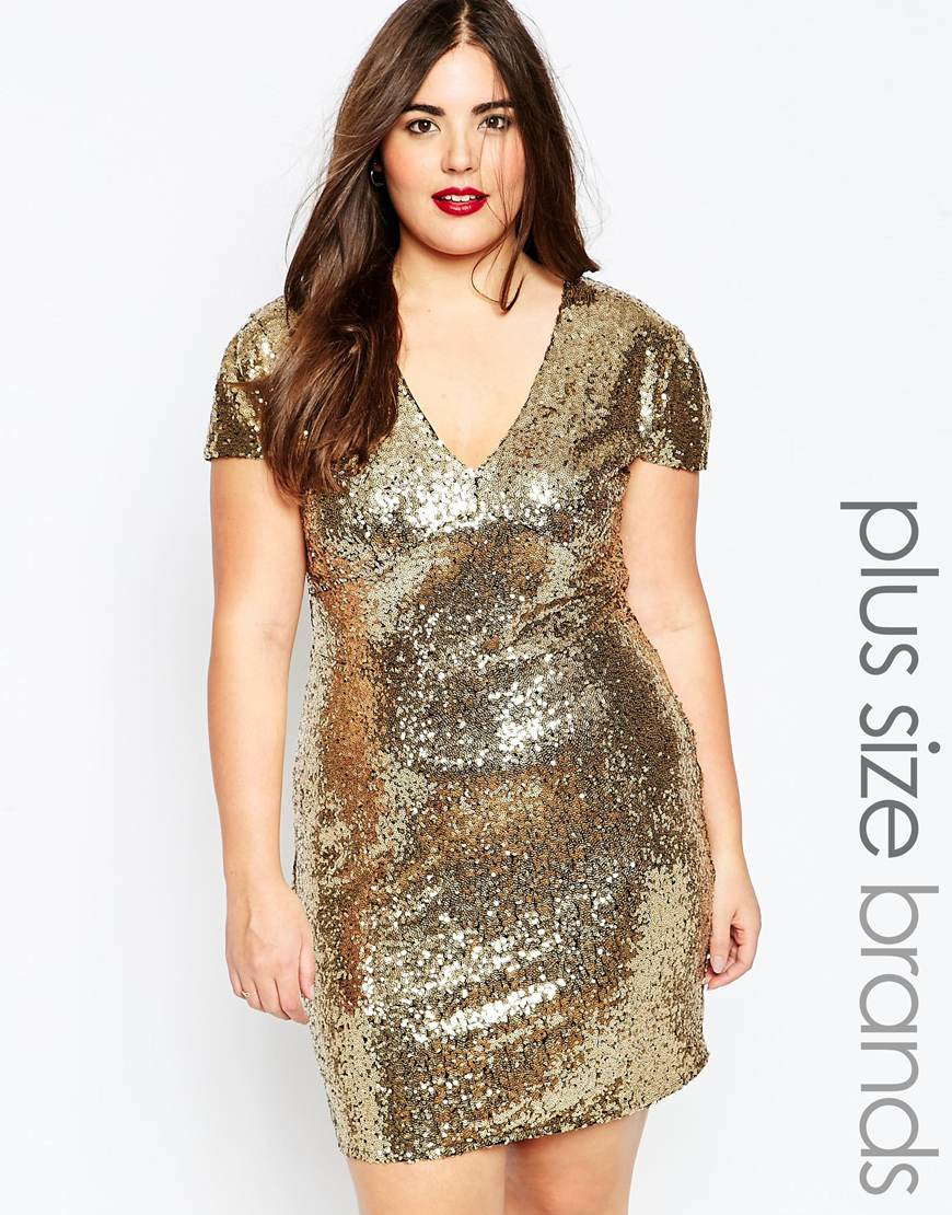 Club l Plus Size Sequin Dress With V Neck in Metallic | Lyst