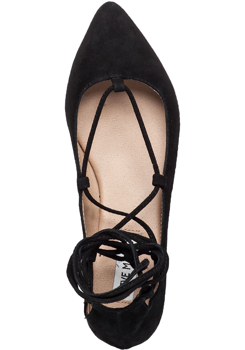 Steve madden Eleanorr Lace-Up Suede Ballet Flats in Black ...