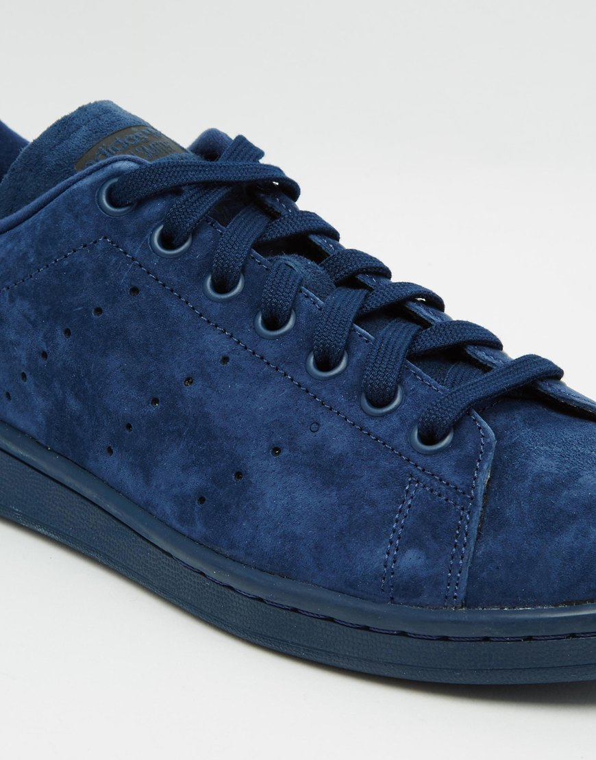 adidas originals stan smith suede trainers in blue for men lyst. Black Bedroom Furniture Sets. Home Design Ideas