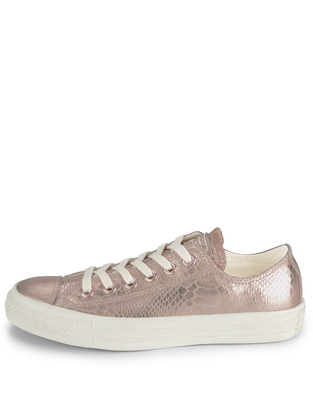 converse converse ctas elevated glam rose gold low plimsolls in gold metallic lyst. Black Bedroom Furniture Sets. Home Design Ideas