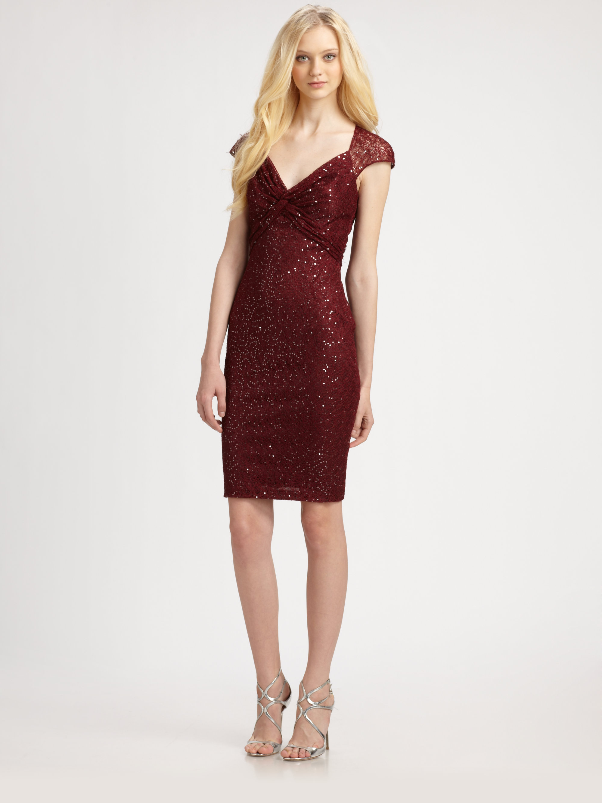 David Meister Sequin Lace Cap Sleeve Cocktail Dress In