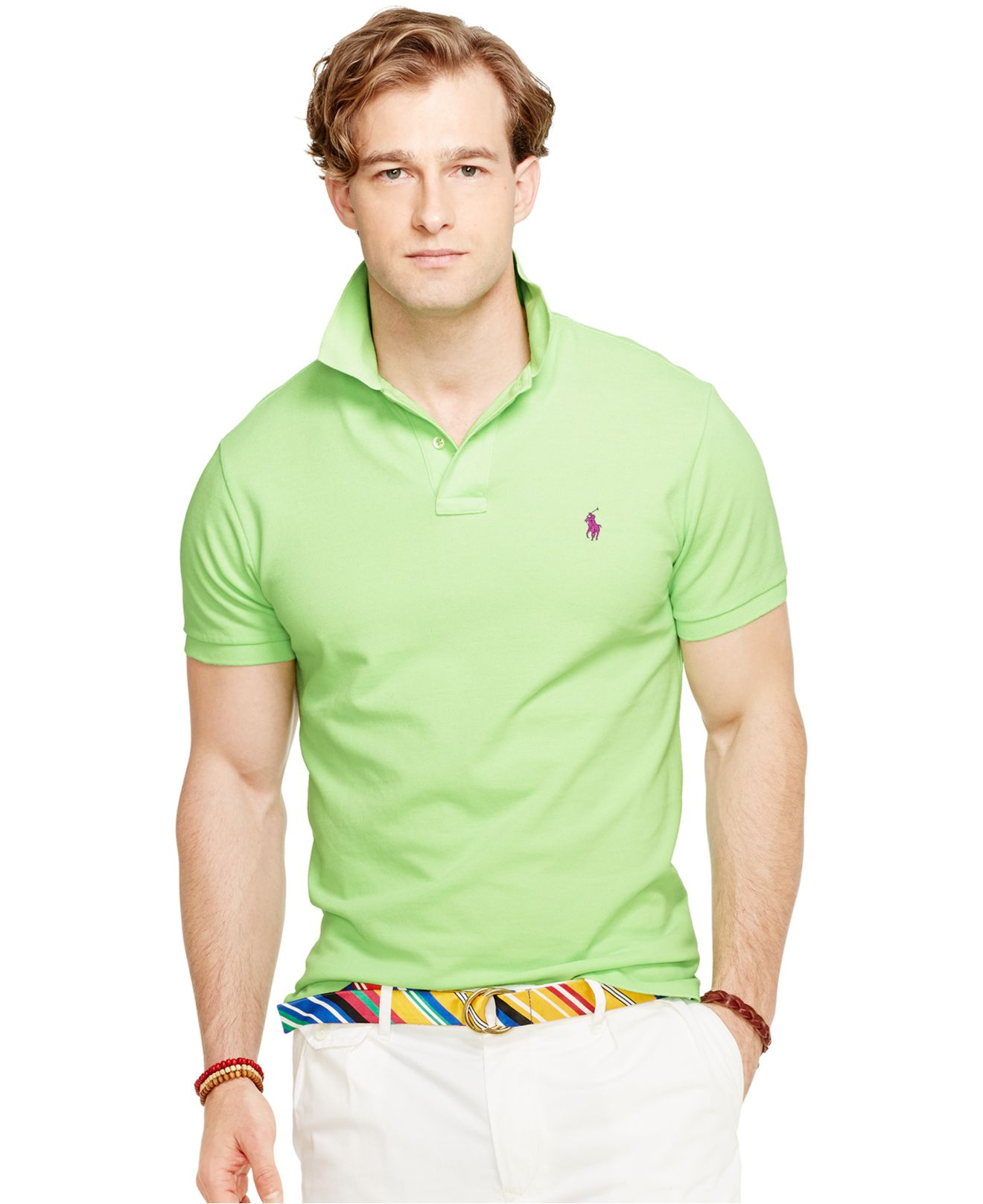 aa8f08ca Polo Ralph Lauren Green Classic-fit Mesh Polo for men