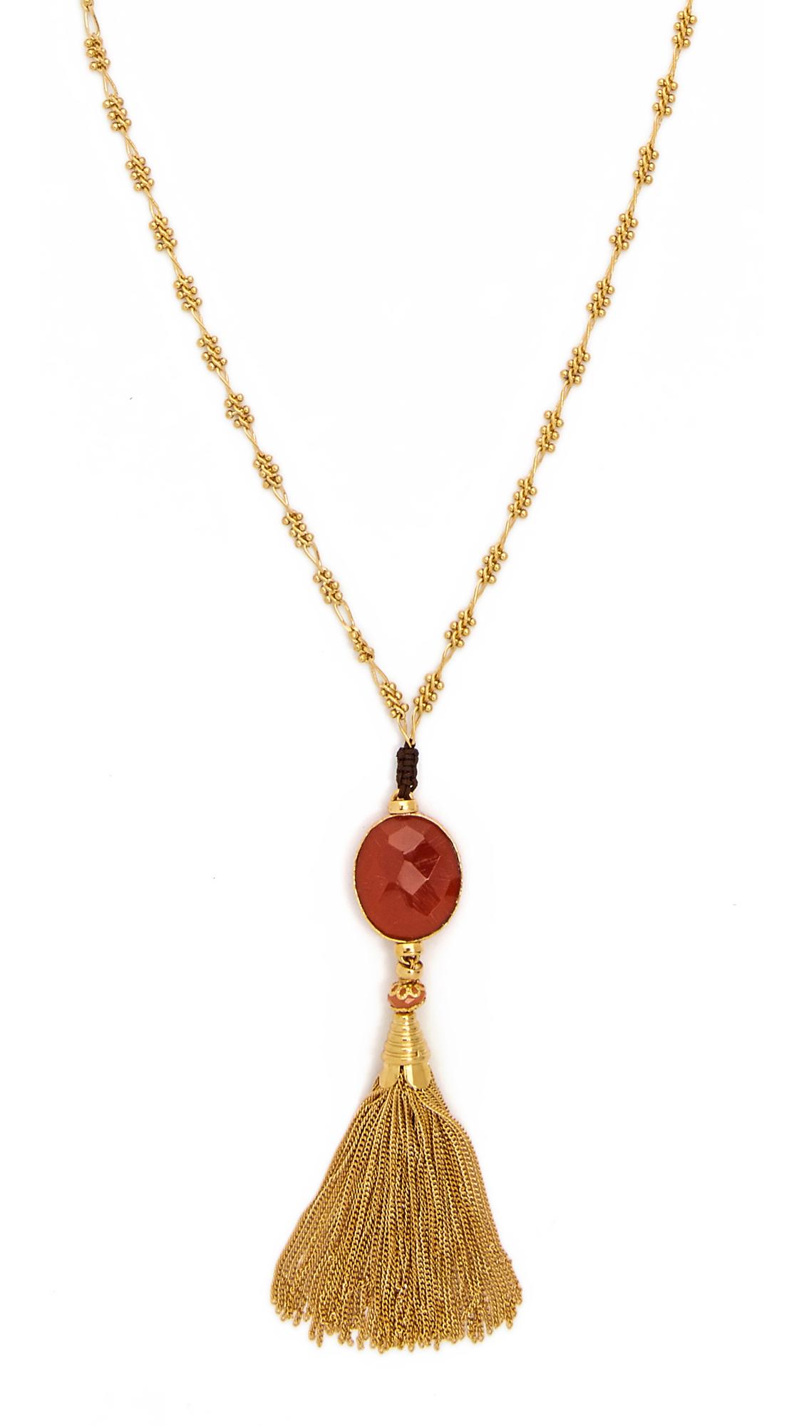 Gas Bijoux Serti Pompon Necklace - Red/gold