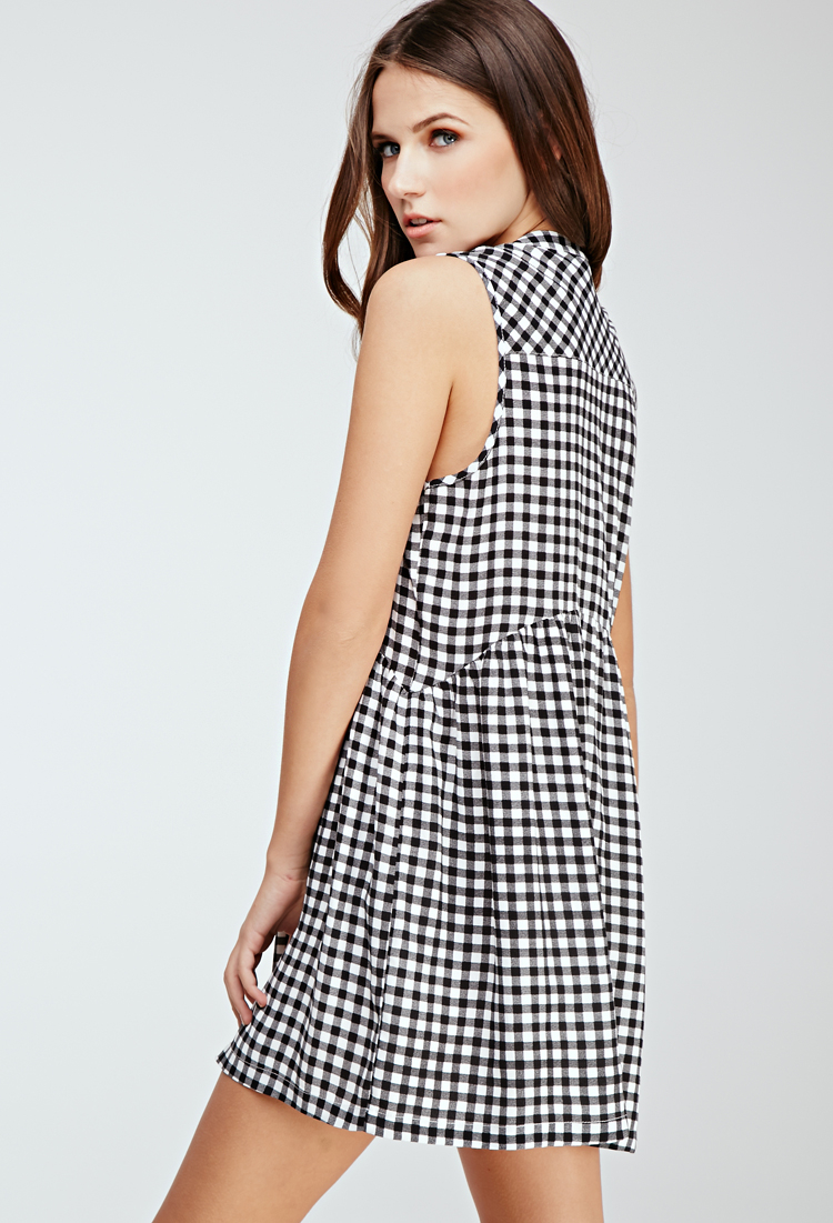 Forever 21 Shirred Gingham Button-front Dress in Natural ...