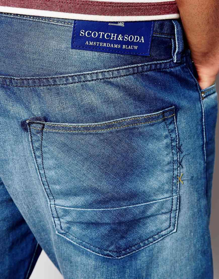 scotch soda jeans in slim fit trump city wash in blue for men lyst. Black Bedroom Furniture Sets. Home Design Ideas