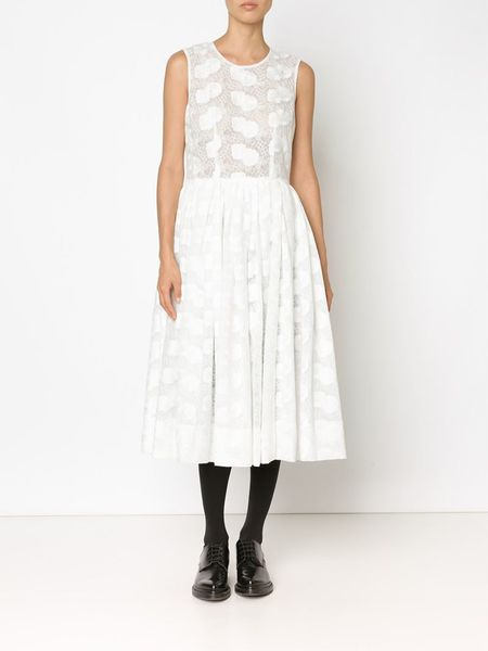 Comme Des Gar 231 Ons Floral Embroidered Midi Dress In White