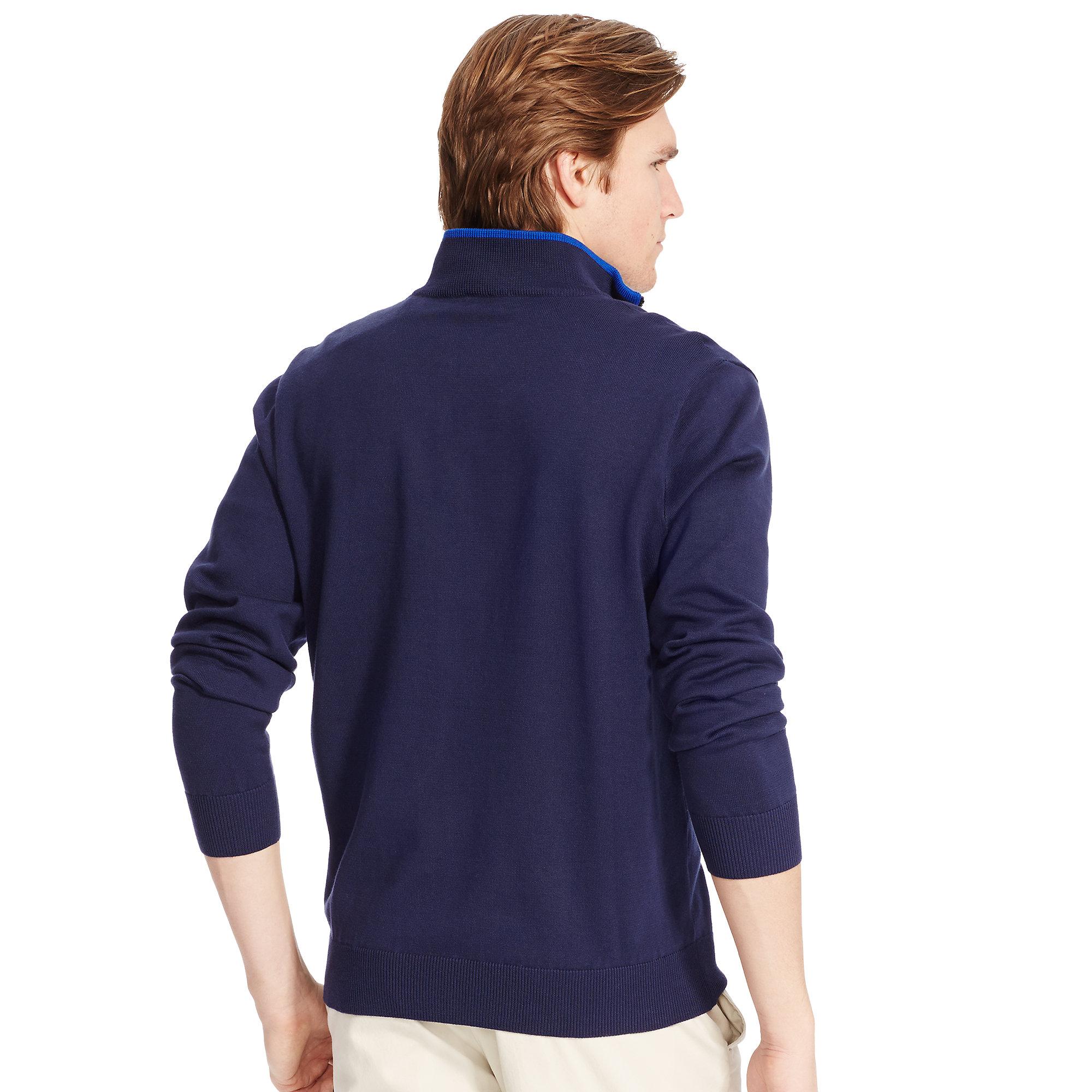 Ralph Lauren. Men\u0026#39;s Blue Pima Cotton Half-Zip Sweater