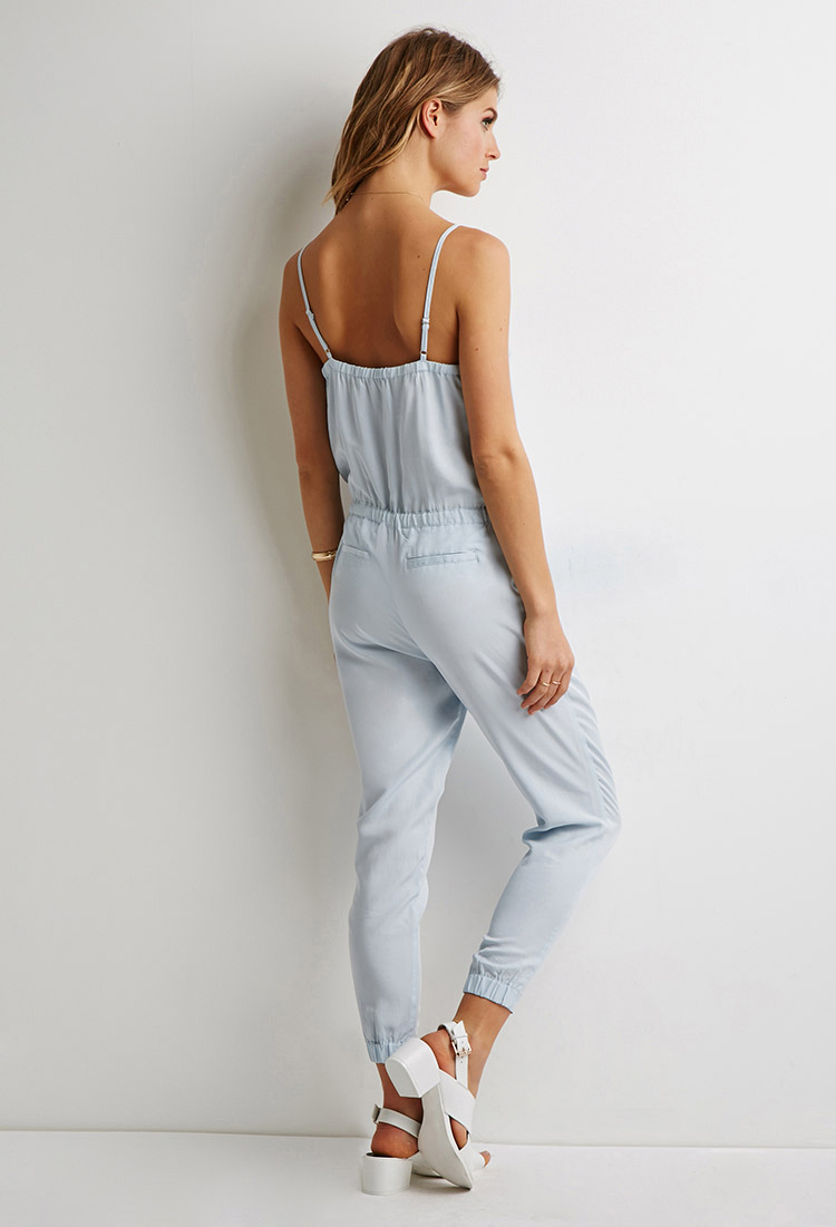 Forever 21 Contemporary Drawstring Cami Jumpsuit in Blue | Lyst