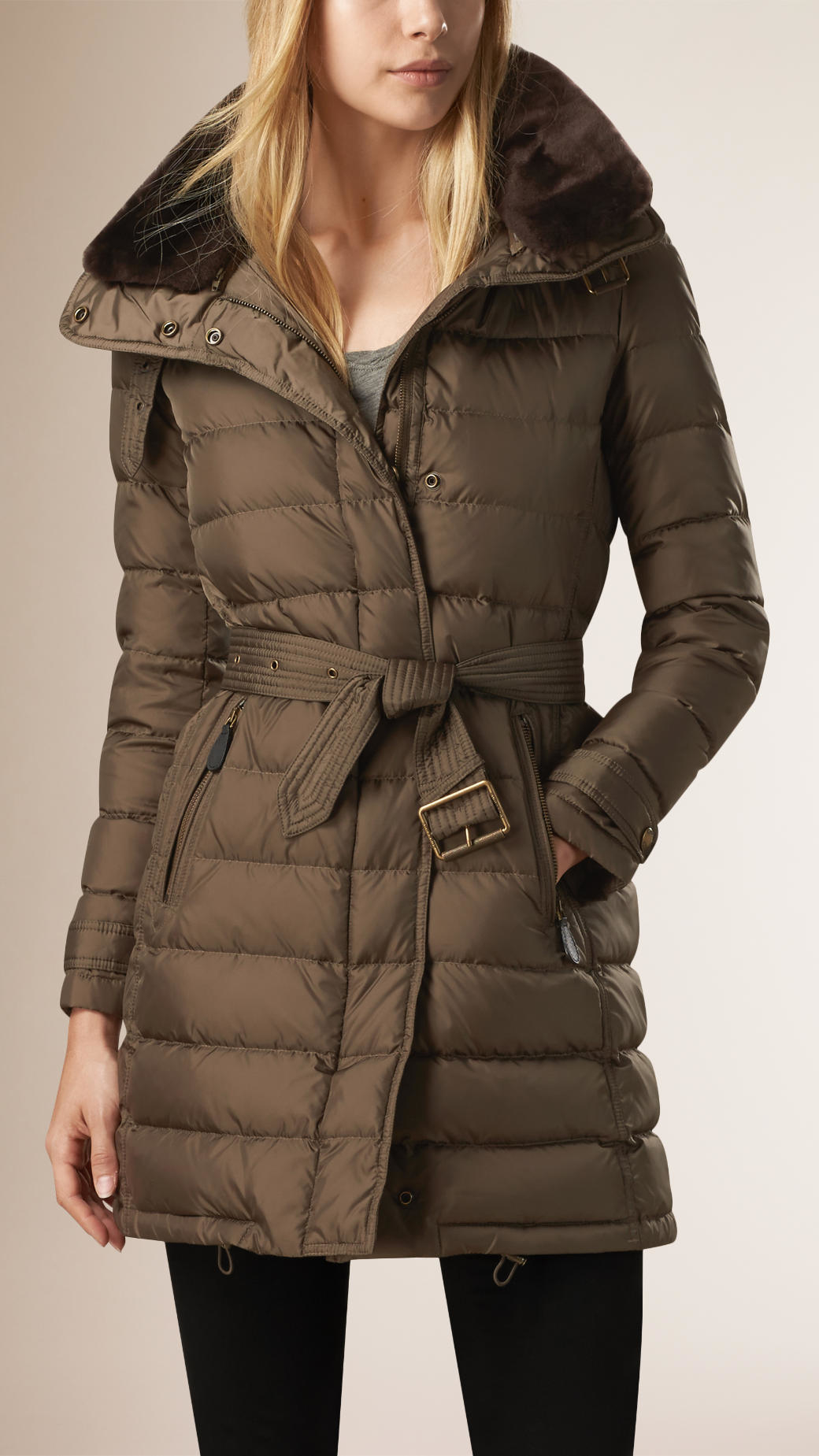 Burberry Down-filled Coat With Shearling Collar in Gray | Lyst