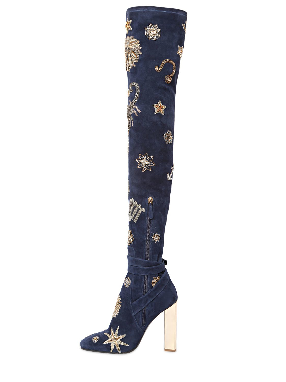 Emilio Pucci 110mm Zodiac Suede Over The Knee Boots in Blue