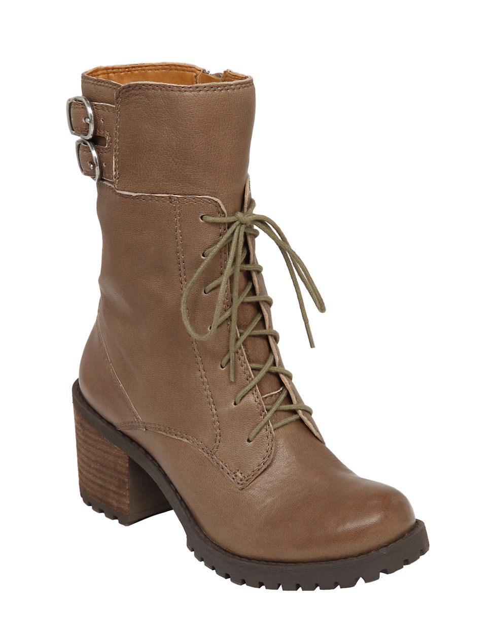 lucky brand nylah leather mid shaft boots in brown lyst