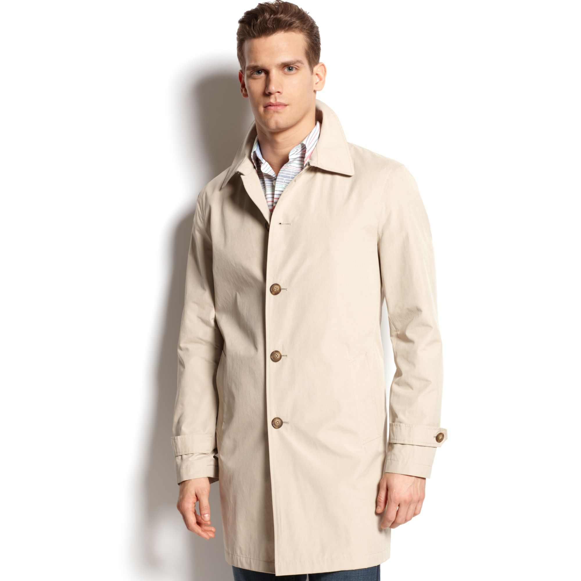 tommy hilfiger single breasted raincoat in beige for men tan lyst