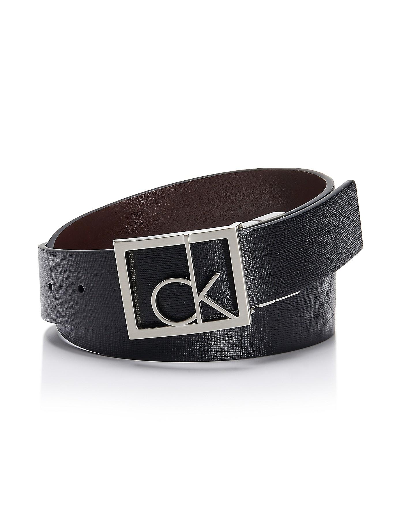 Calvin Klein White Label Logo Plaque Textured Reversible