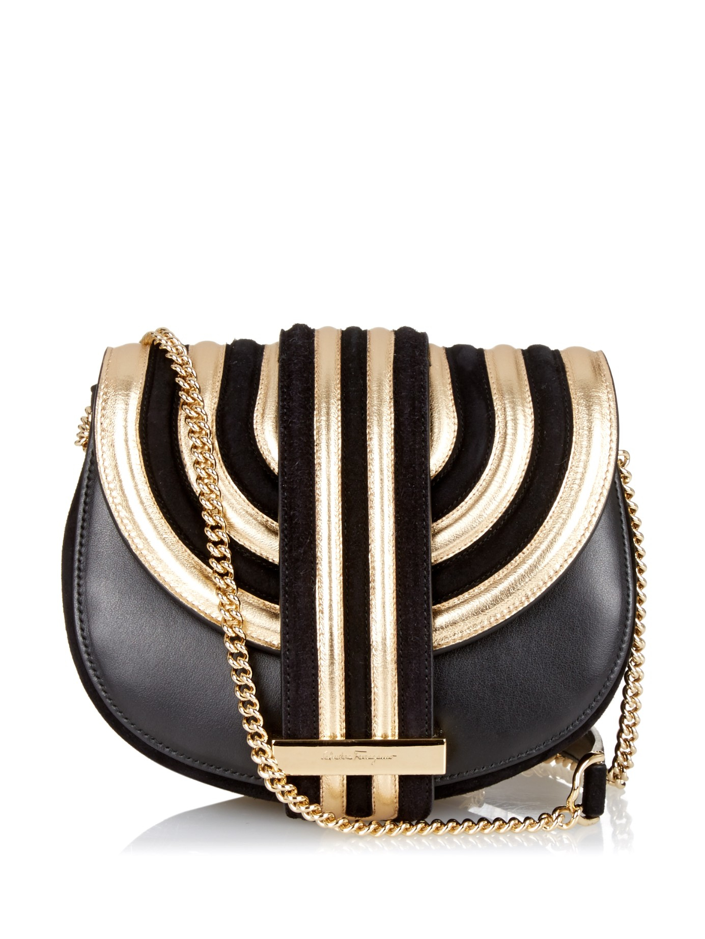 c76310d6 Ferragamo Black Rosetta Suede and Leather Shoulder Bag